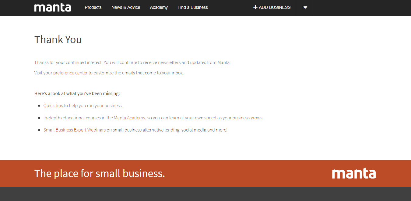 thank you page confirming resubscription to mailing list
