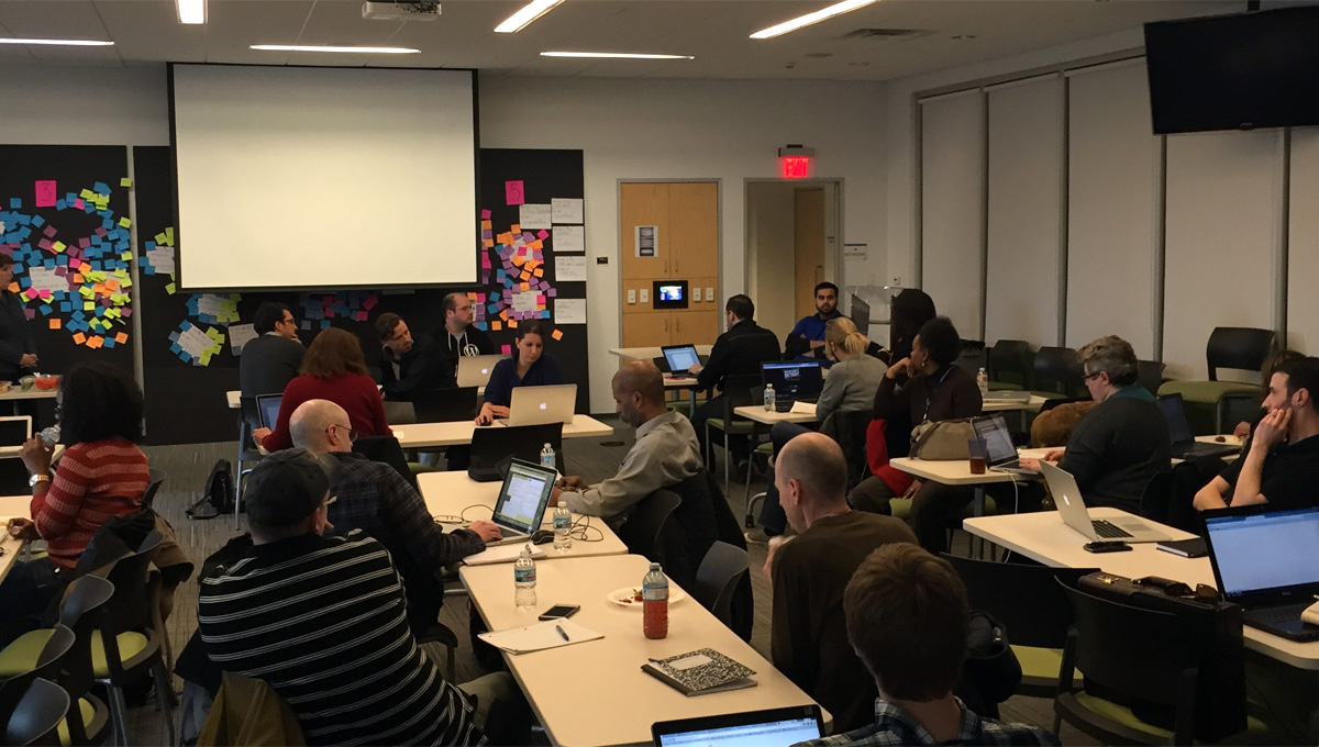 Metro Detroit WordPress members seated at WordPress Q & A workshop