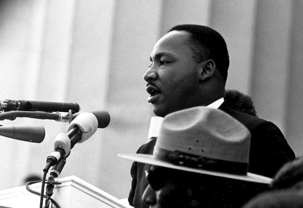 Martin Luther King Jr. at the podium, speaking at Washington DC