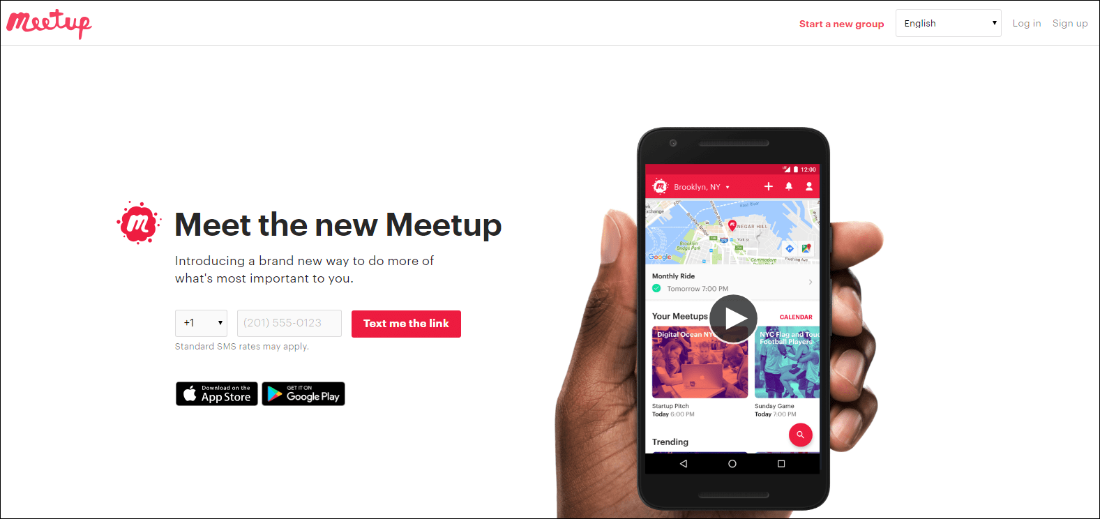 home page of Meetup event organizing website.