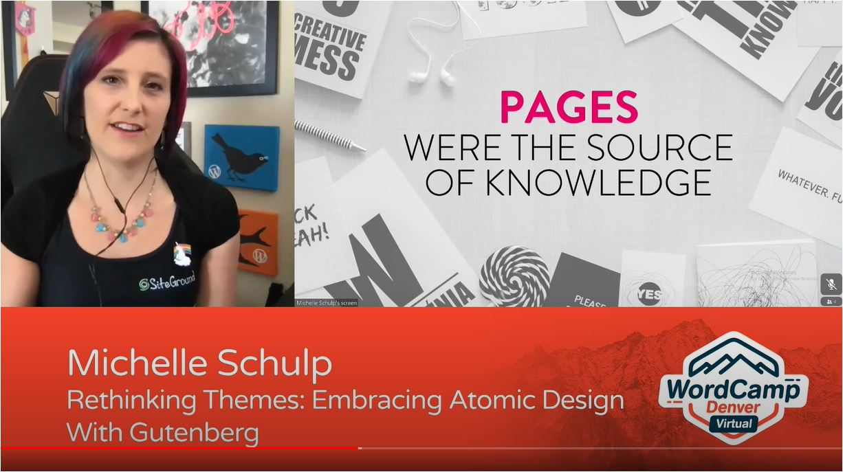 Michele Schulp side-by-side with presentation slide about Pages.