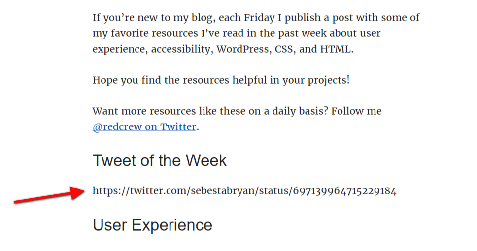 Tweet of the week displays tweet URL instead of actual tweet