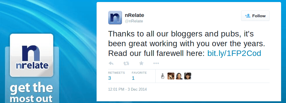 nRelate: Thanks to all our blogger and everyone. It's been great working with you. Read our full farewell.