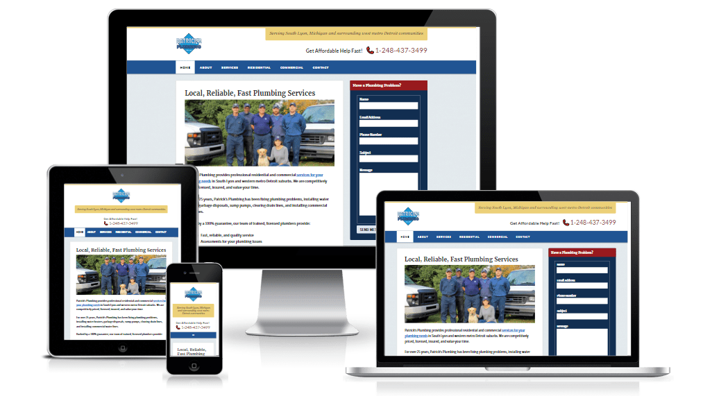 Patricks Plumbing website showing tablet, smartphone, laptop, and desktop views.