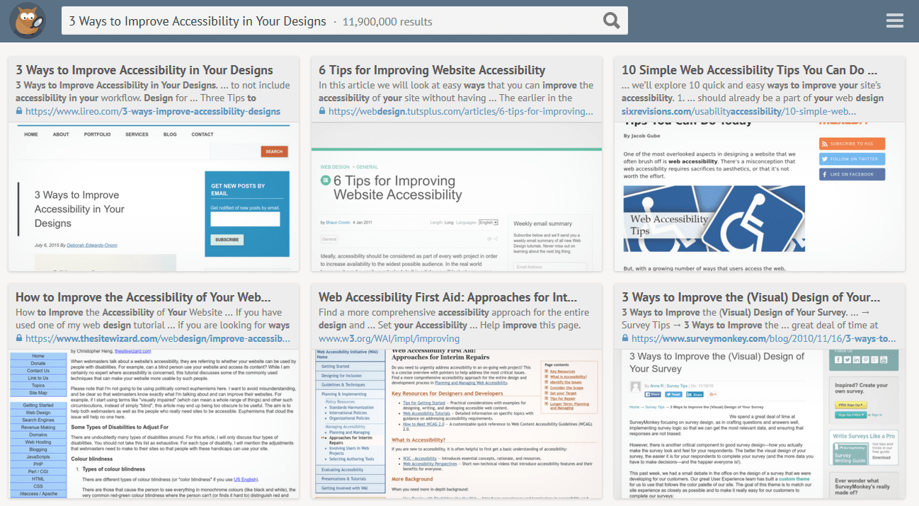Peekier search engine results for 3 ways to improve accessibility in your designs