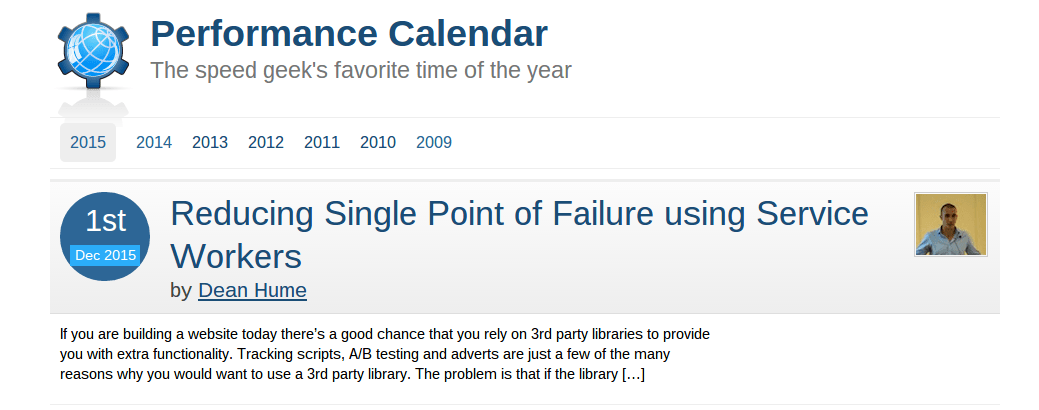 2015 Performance Calendar