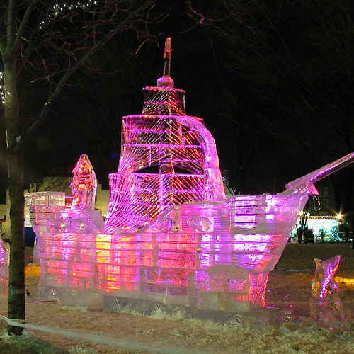 Pirate ship ice sculpture
