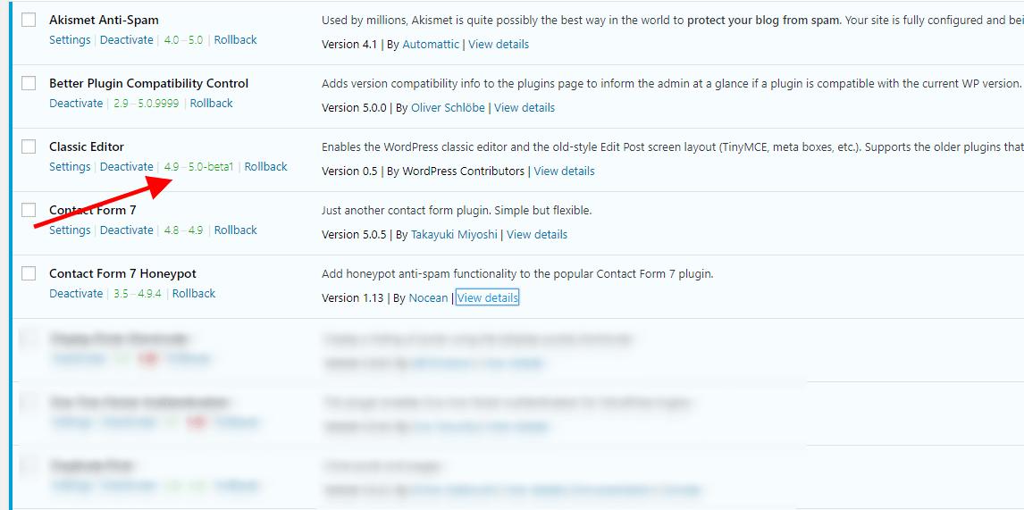 Plugin list with WordPress version info displayed.