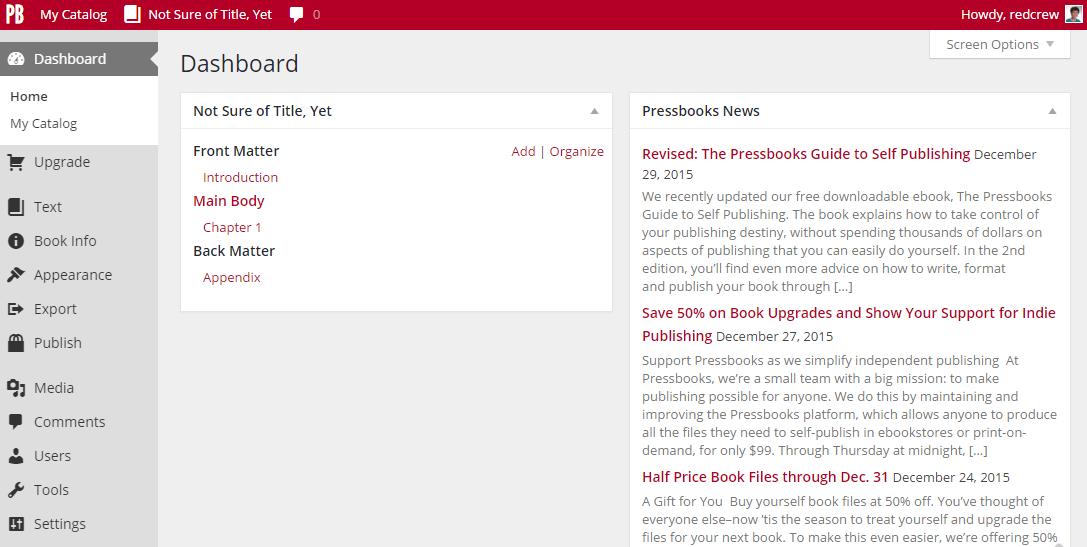 PressBooks administrative interface
