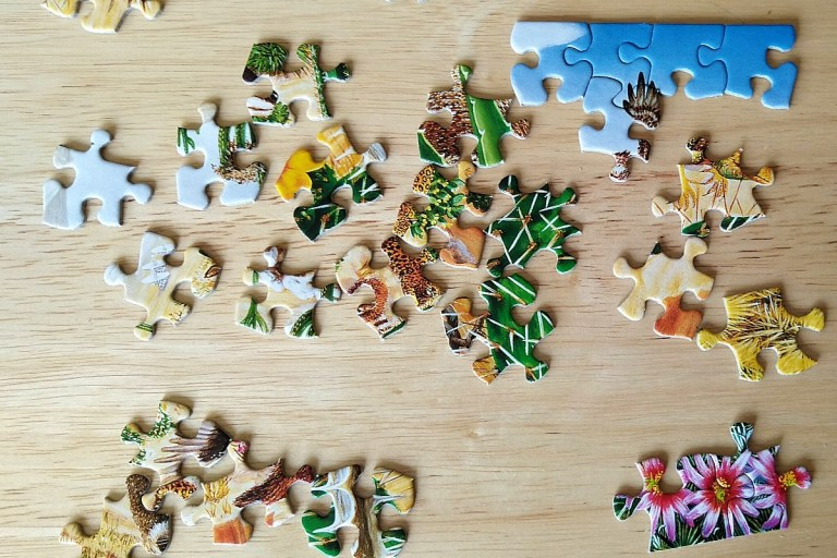 puzzle pieces of green grass, flowers, and blue sky strewn across a wooden table.