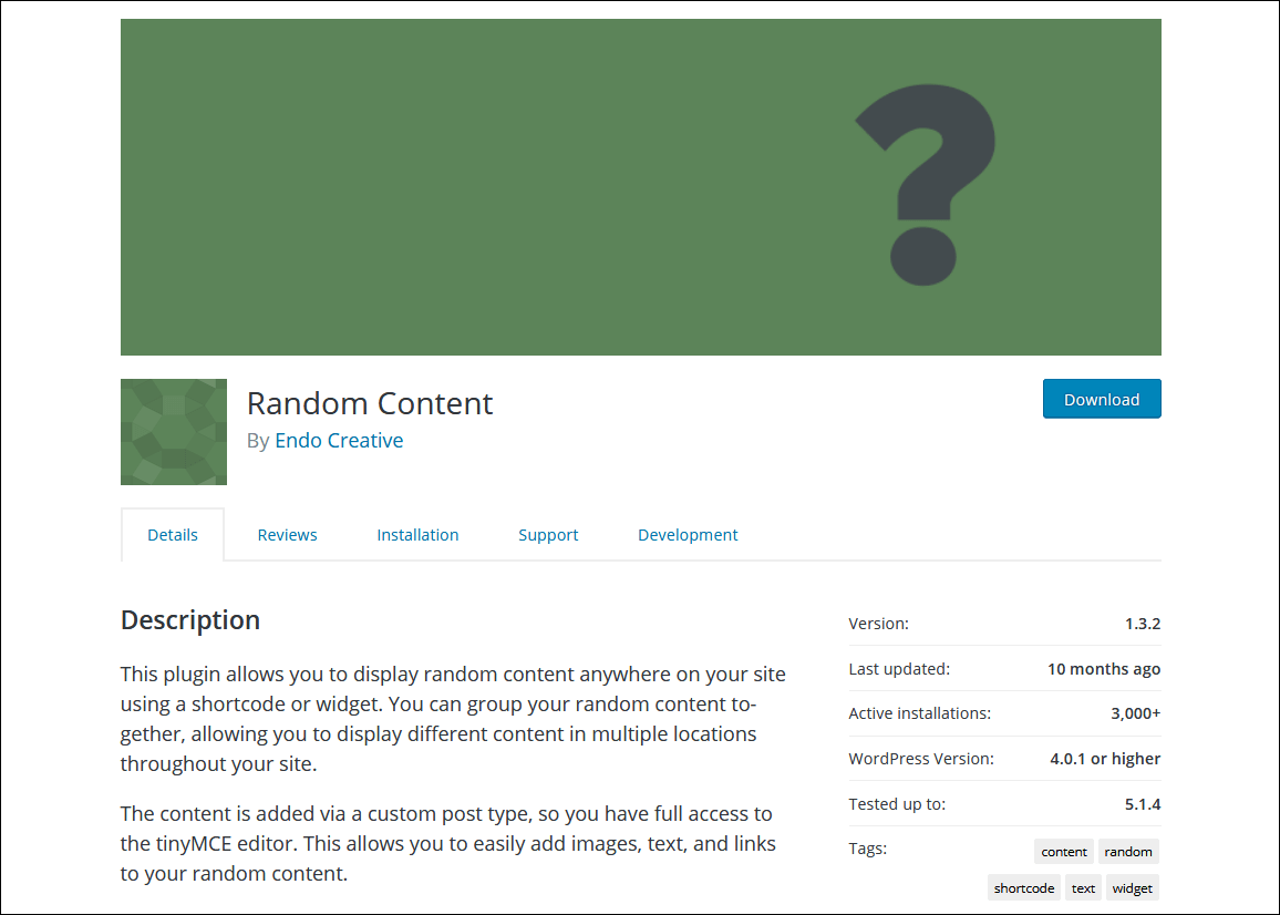 Random Content plugin main page.