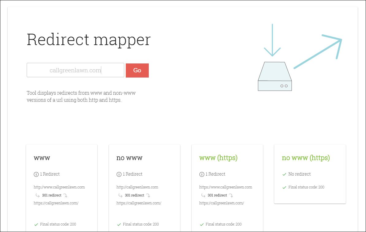 Redirect mapper results showing Greenlawn Landscape redirect set up correctly