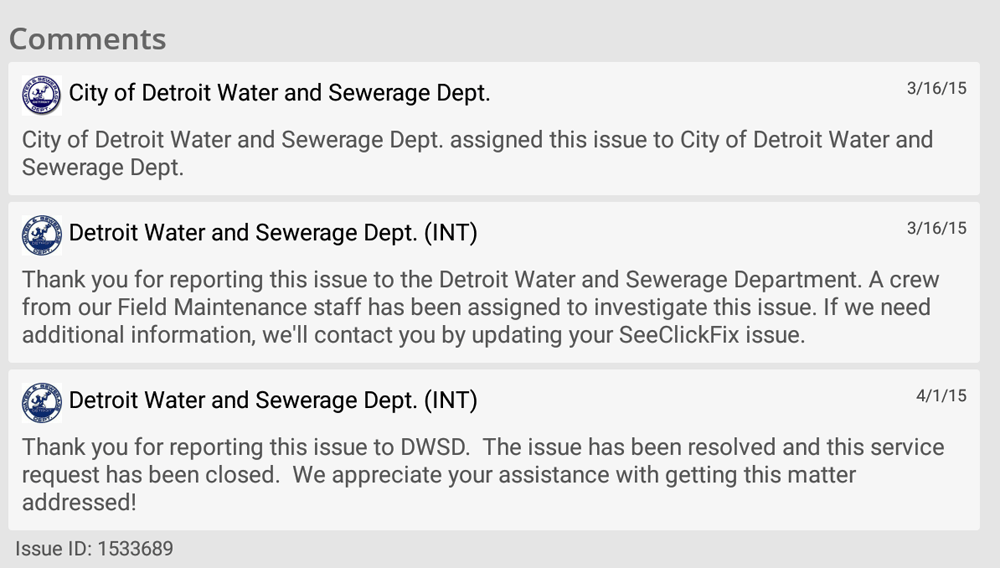 Comments from reported issue in Improve Detroit