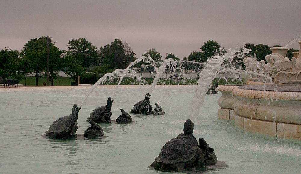 Turtles spewing water in the Scott Fountain on Belle Isle