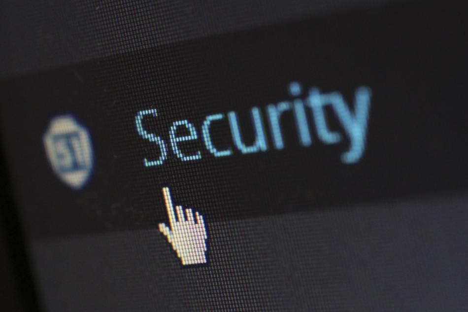 cursor over Security button on digital device
