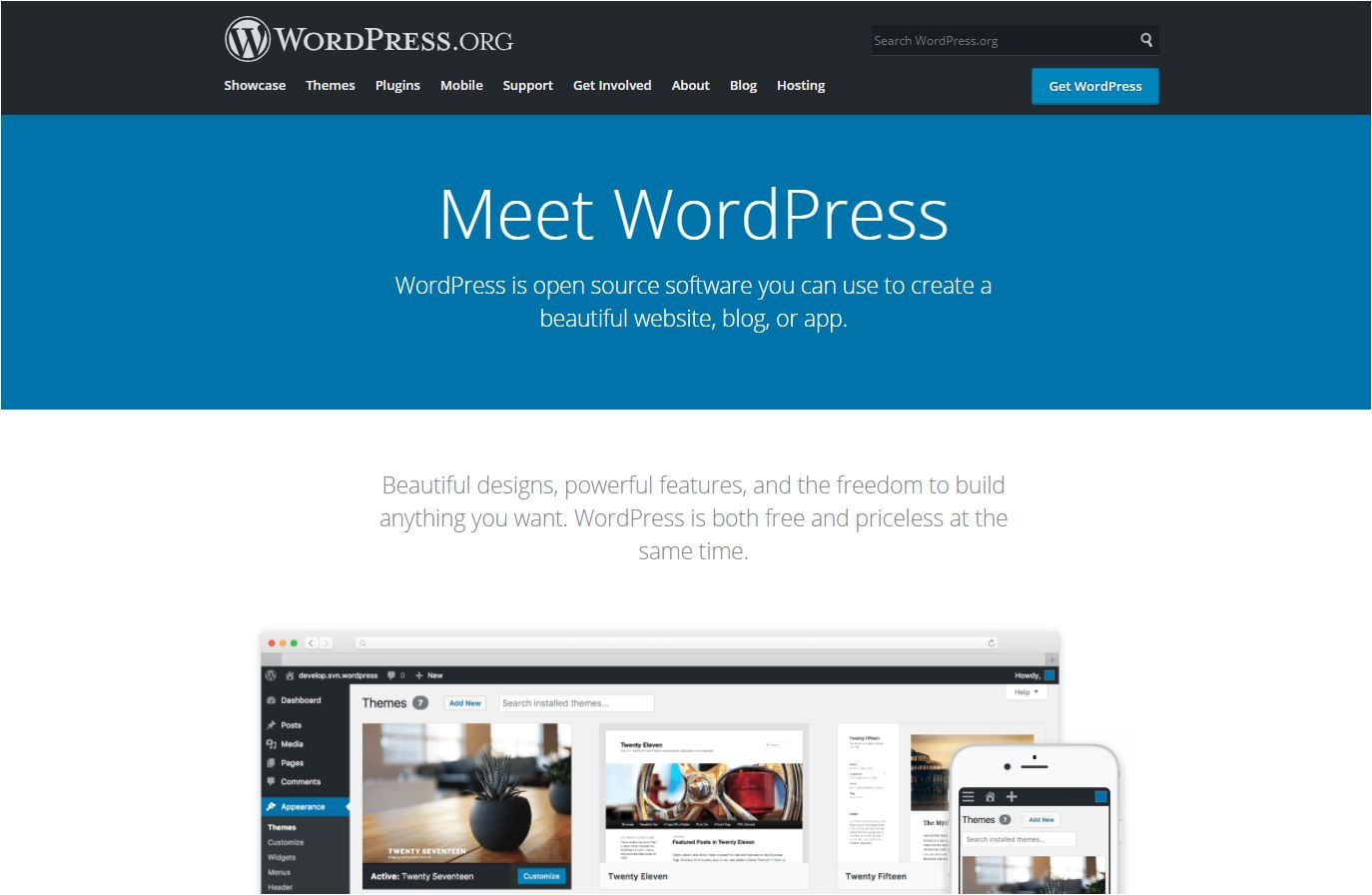 self-hosted WordPress home page.