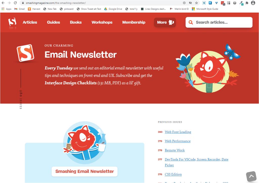 Smashing Newsletter.