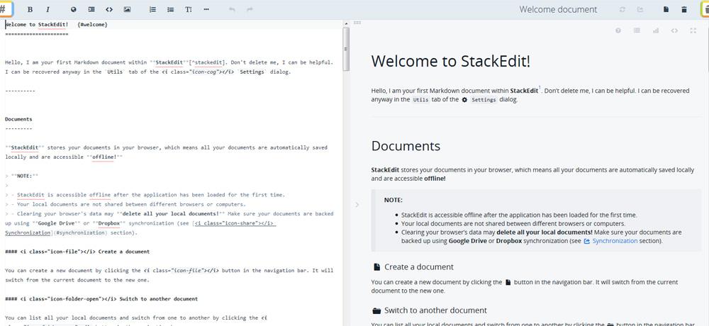 StackEdit markup editor layout screen