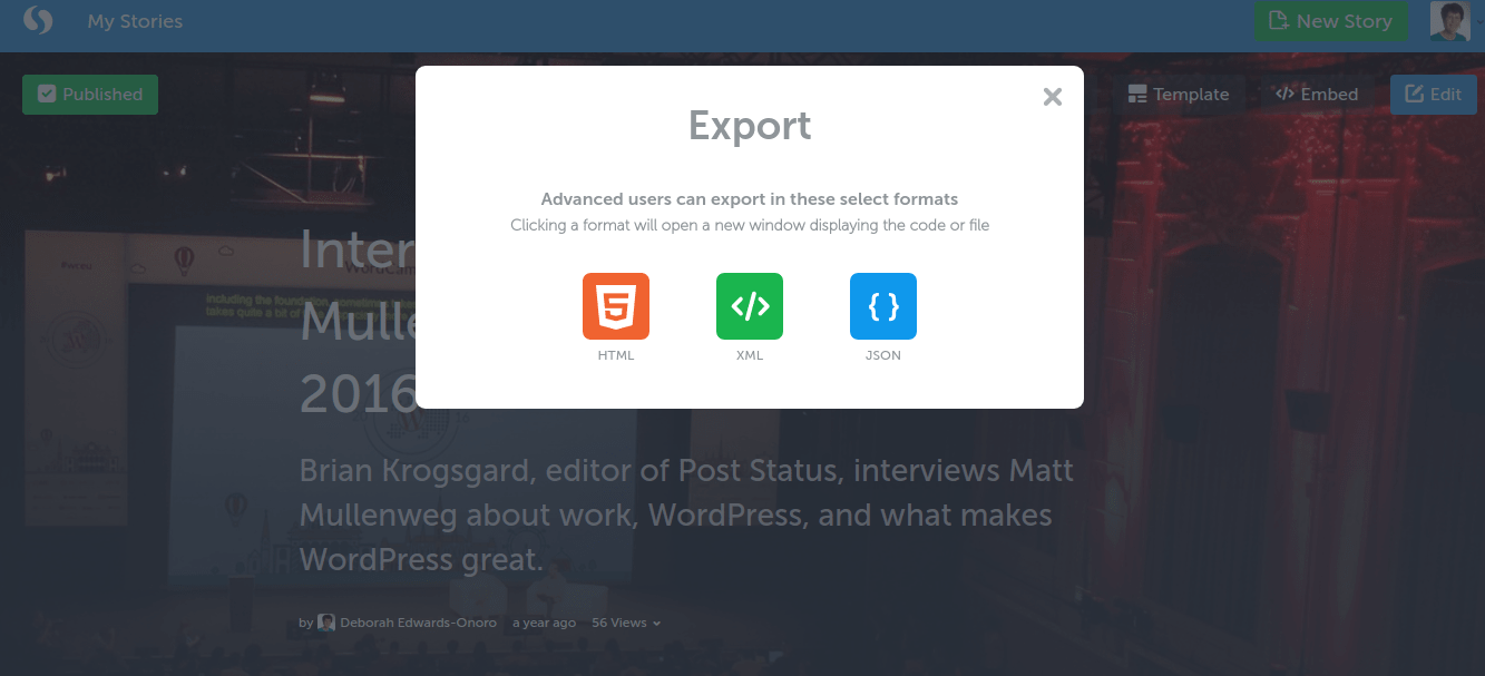 Export options include HTML, XML, and JSON