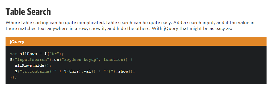 jQuery code to enable table searching