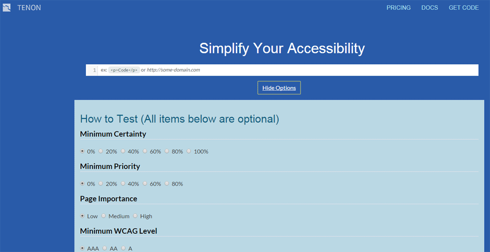 Tenon automated accessibility checker options