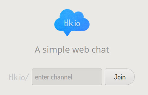 login screen for the tlk.io chat system