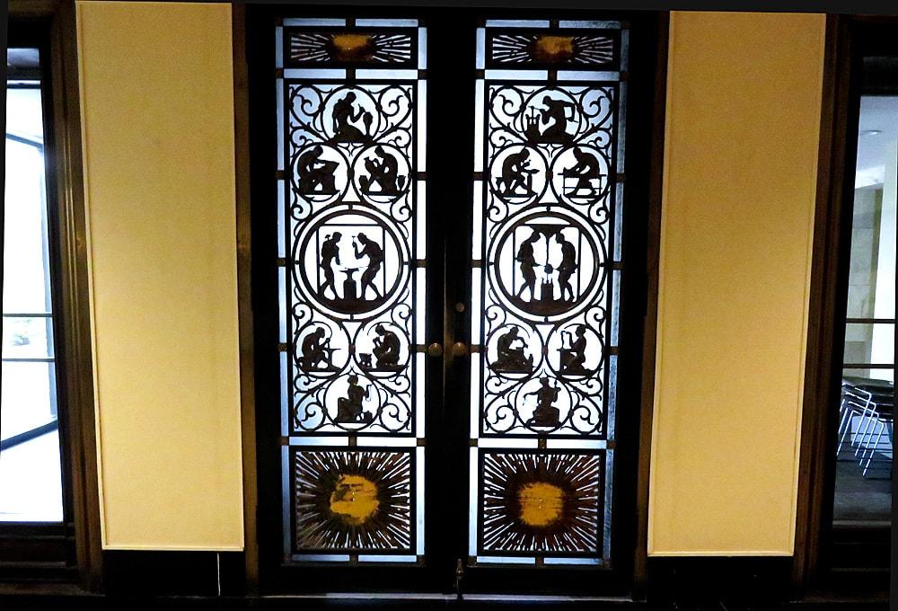 Decorative metalwork double doors