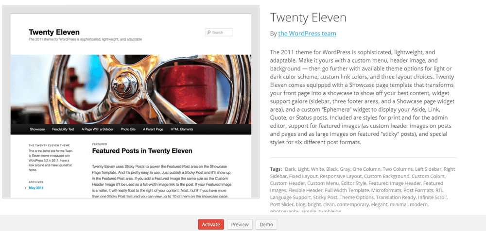 Twenty Eleven Theme selection