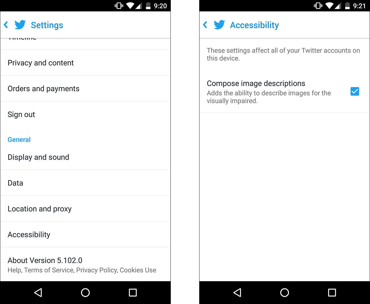 Two screenshots of settings for Twitter for Android. The first screenshot shows Accessibility option in Twitter Settings screen. The second screenshot shows Compose image description option to add ability to describe images for the visually impaired.