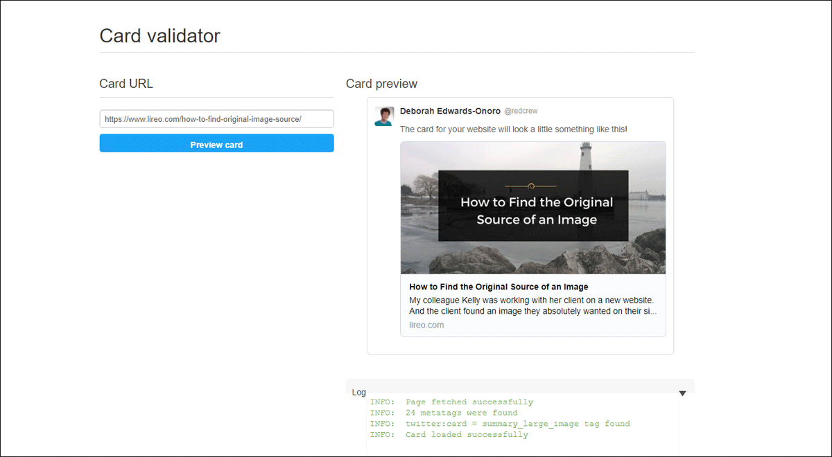 validator results displaying URL and Twitter Card with title, image, and description, along with page fetching info.
