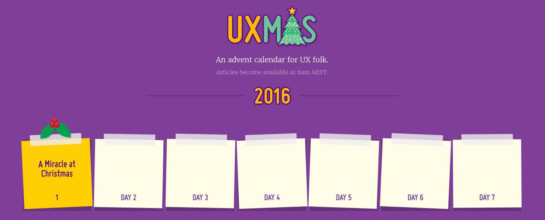 UXMas 2016 Advent calendar