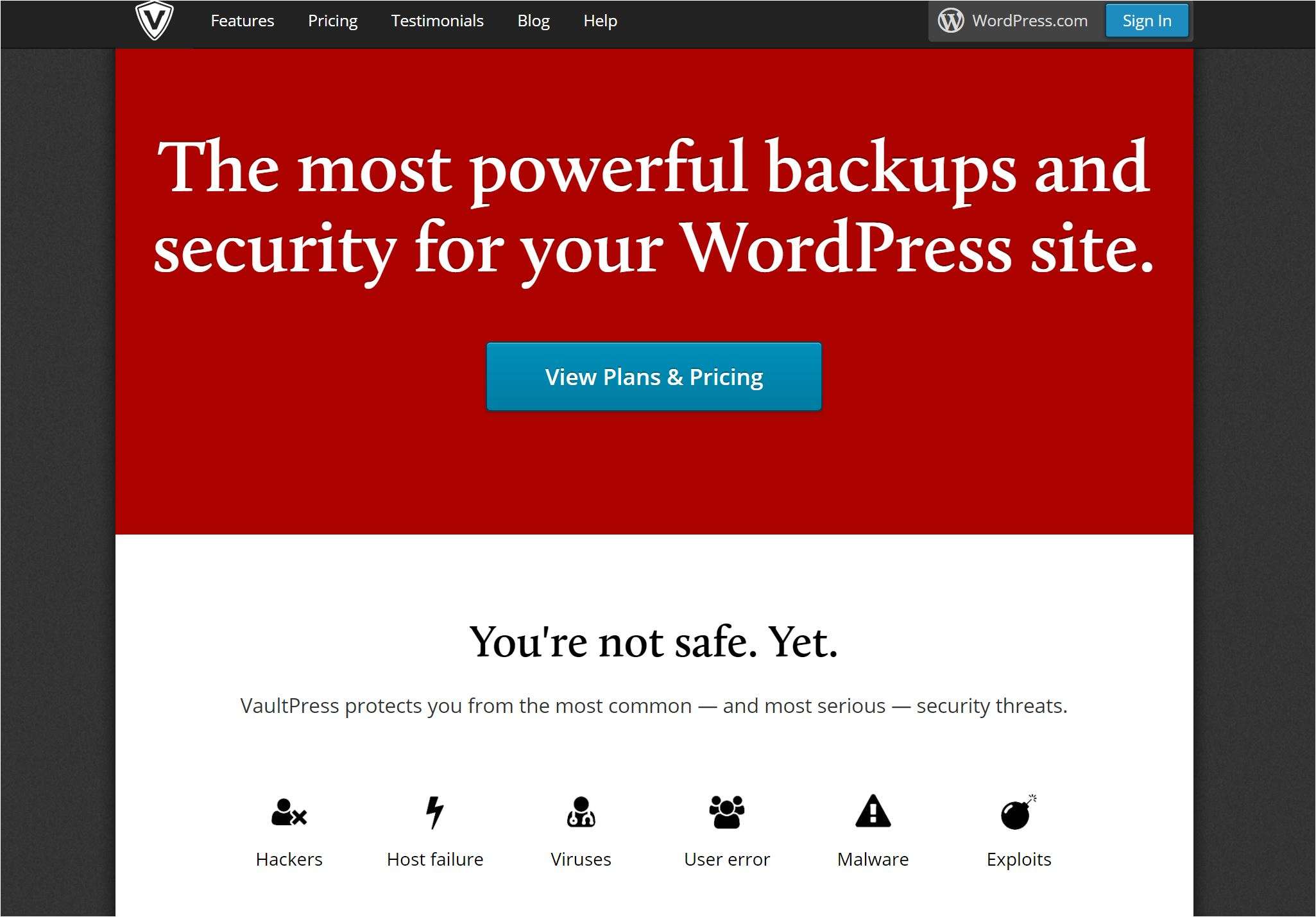 VaultPress: the most powerful backups and security for your WordPress site.