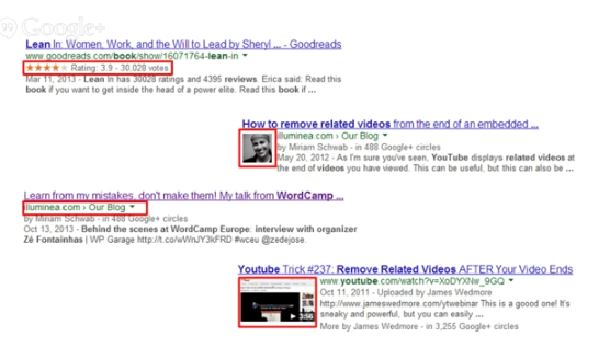 Google search results for videos showing rich snippets