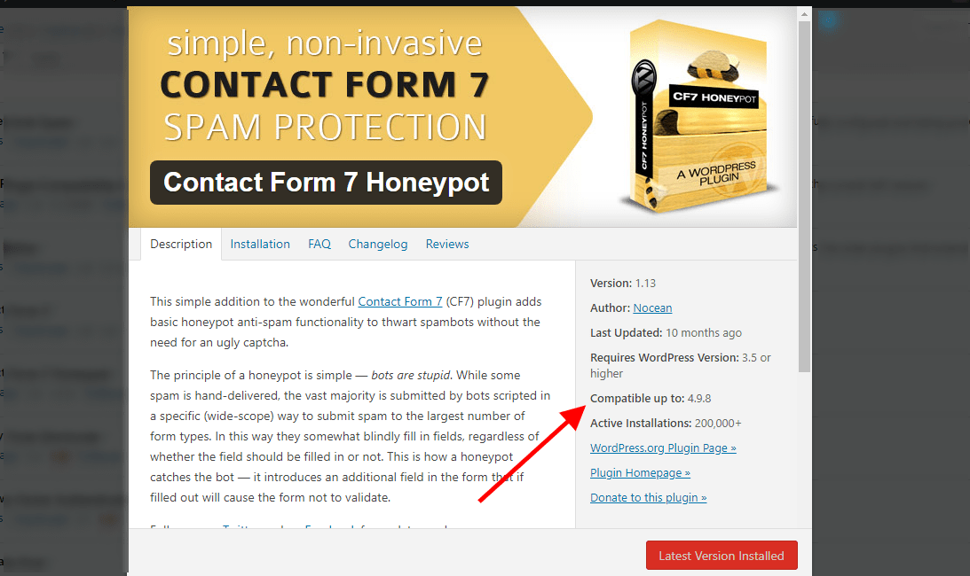 Contact Form 7 plugin details with red arrow pointing to WordPress 4.9.8 version compatibility.
