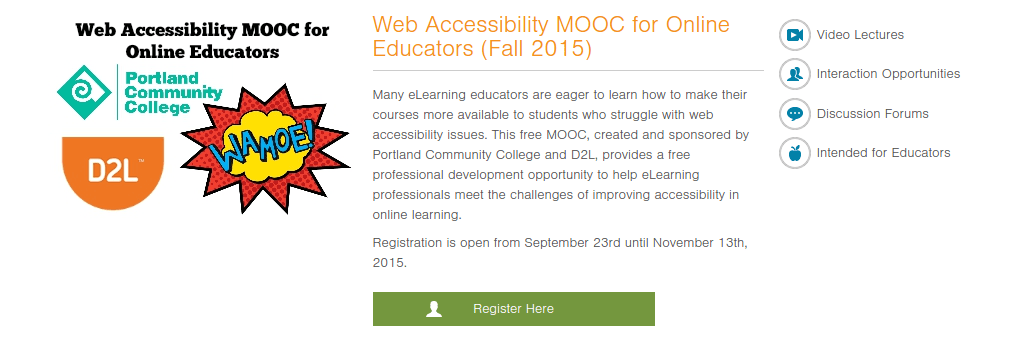 Web MOOC Accessibility Fall 2015 course