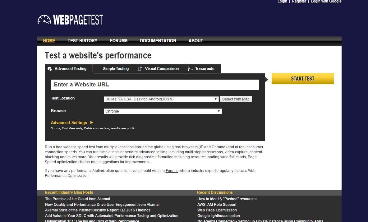 WebPageTest: analyze web page performance
