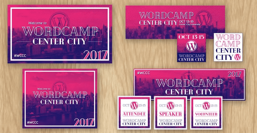 Pink and purple themed WordCamp nametags, posters, and slides