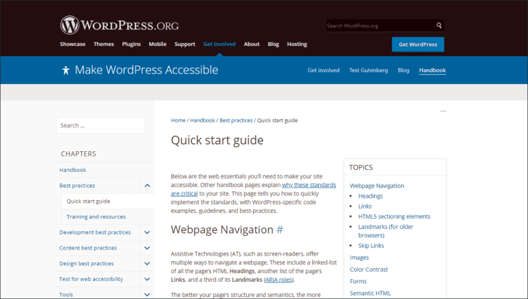 Quick Start Guide of WordPress Accessibility Handbook