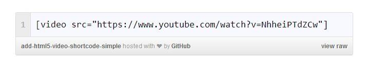 WordPress HTML5 video embed code