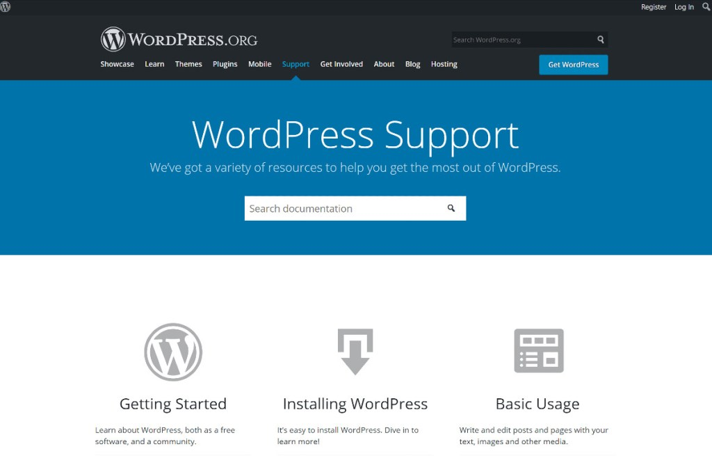 WordPress Support home page.
