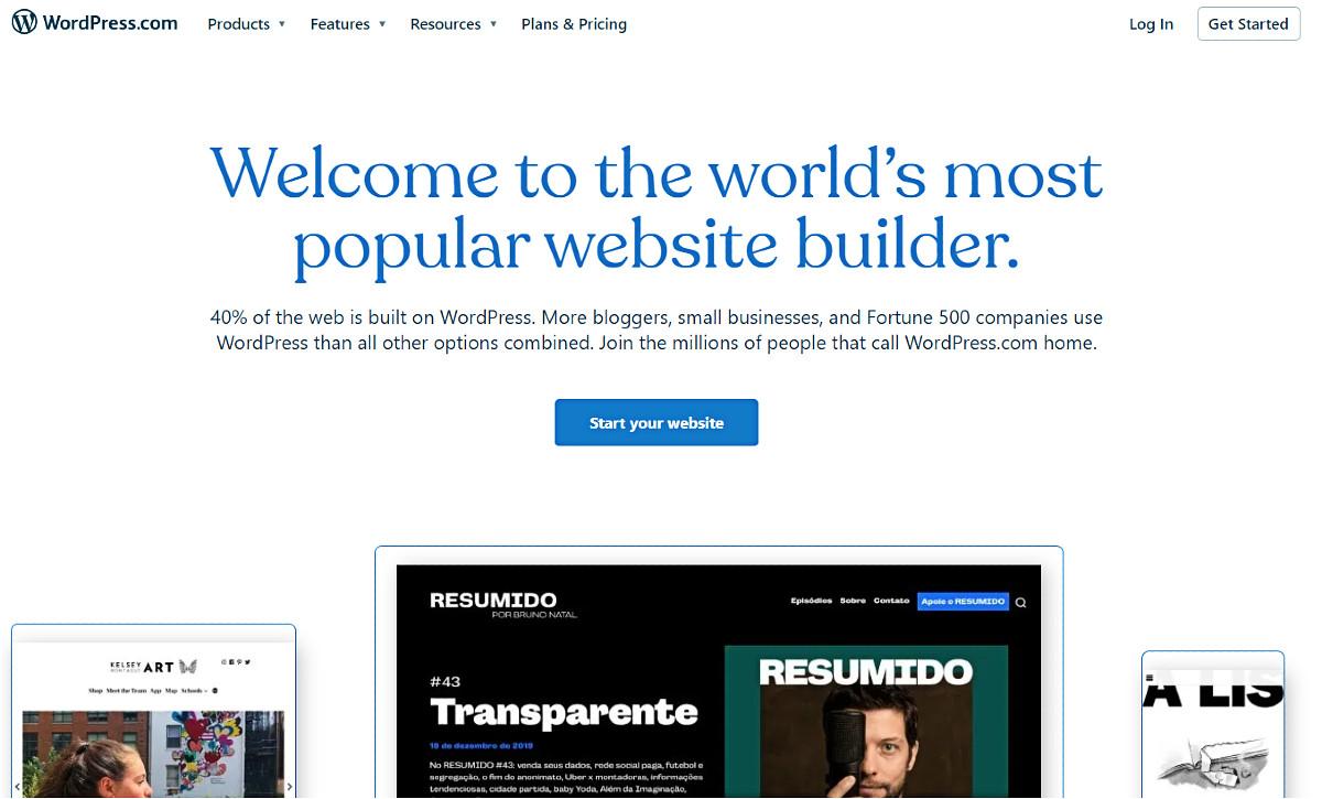 WordPress dot com home page.