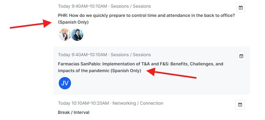 Session list showing time, speaker, as well as red arrows highlighting language presenter will use for session.