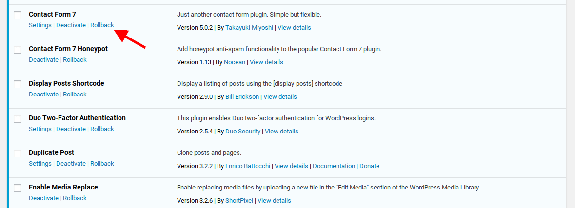 Rollback option displays in the list of plugin actions for each plugin