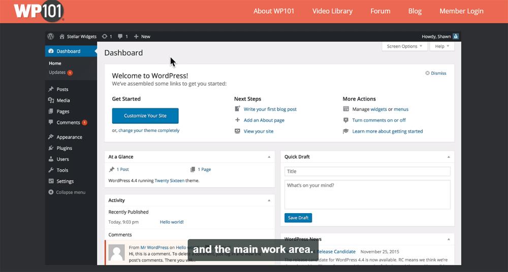 WP101 video showing WordPress dashboard