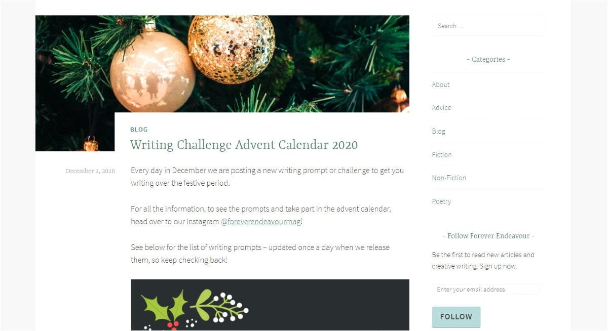 Writing Challenge Advent Calendar 2020.