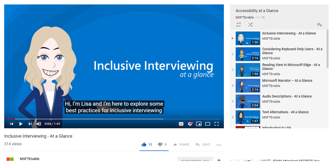 YouTube Accessibility At a Glance playlist, highlighting the Inclusive Interviewing video.