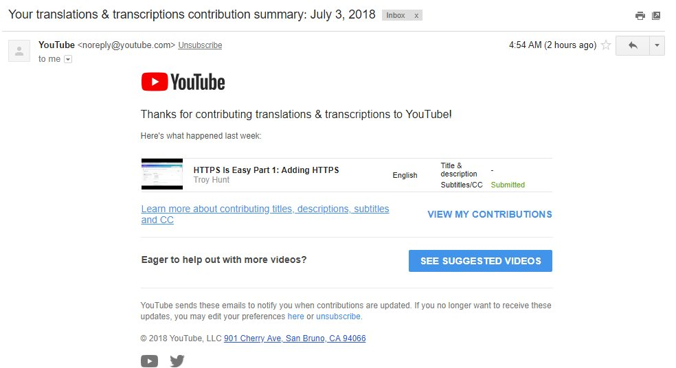 YouTube message confirms captions received, waiting for approval.