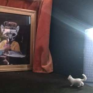 Susan Plover has digitally collaged an immense gambling cat