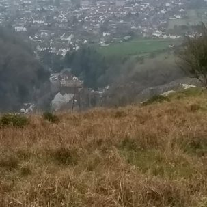 Up high on the gorge Cheddar houses sprawl below we drank icicles