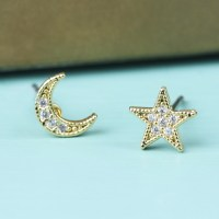 Gold Moon and Star Crystal Stud Earrings | Lisa Angel ...
